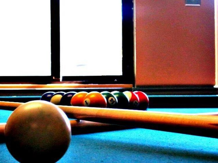 Vibrant Color Pooltable Cueball 8ball Colors On The Table Multi Colored Close-up Triangle Hobbies No People Arrangement