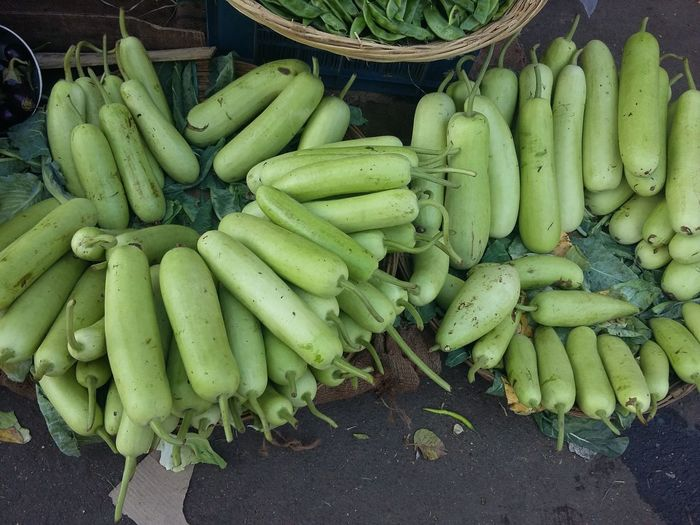 High Angle View Of Gourds For Sale At Market