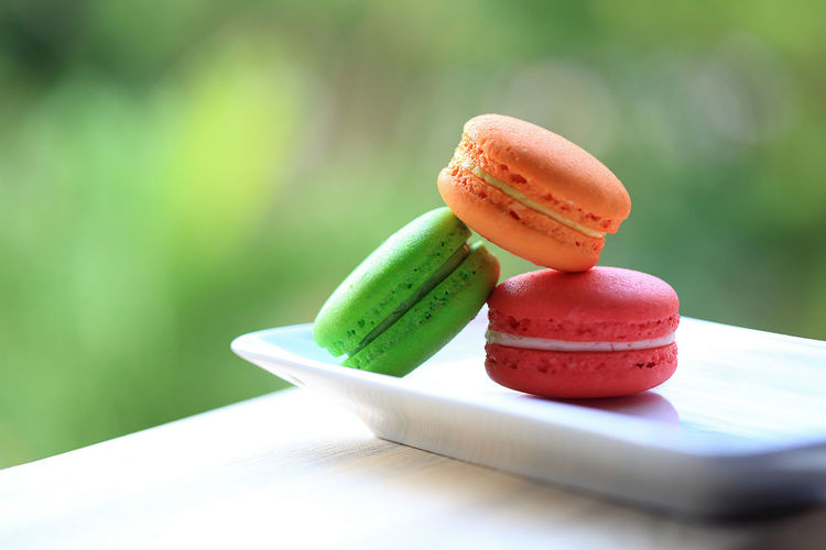 Red, green and orange macaroons on white porcelain plate placed on wooden table with green background. Bokeh Close-up Day Dessert Flavour Food Foodphotography Freshness Fruit Gourmet Green Color Macaroon Meal Natural Light Nature No People Outdoors Plate Porcelain  Ready-to-eat Sweet Food Table Temptation White Wooden