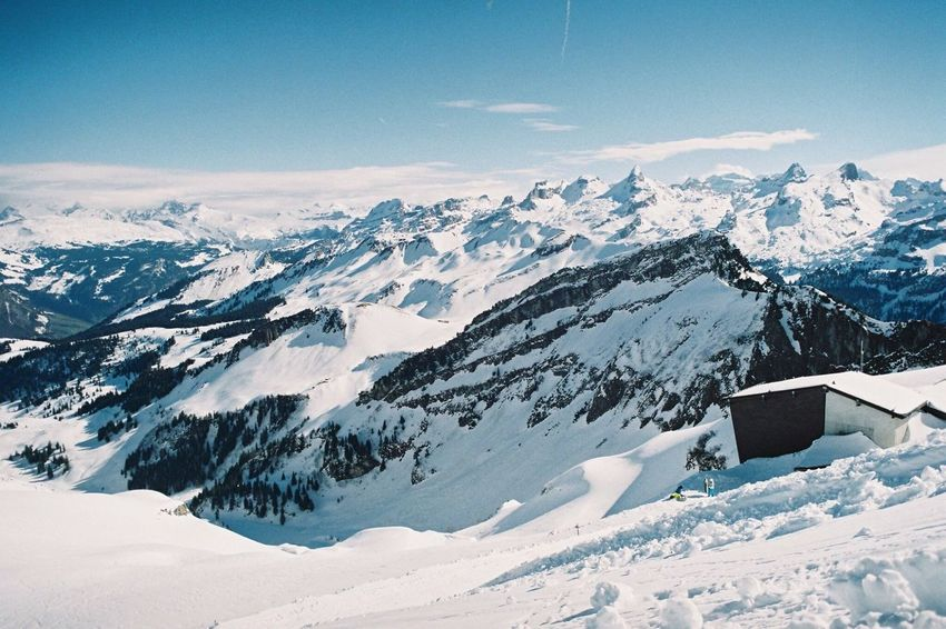 Switzerland Snow Winter Skiing Mountain Weather Snowcapped Mountain White Color Nature Beauty In Nature Mountain Range Tranquil Scene Scenics No People Outdoors Frozen Tranquility Landscape Sky Cloud - Sky Day Stoos Film Photography Analogue Photography EyeEmNewHere
