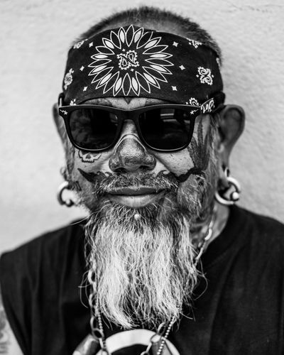 Tattooed Dude Portrait One Person Headshot Real People Front View Glasses Beard Lifestyles Facial Hair Leisure Activity Looking At Camera Males  Adult Men Sunglasses Fashion Close-up Headwear Mid Adult Mustache Bandana Black And White Earrings Cool Styles