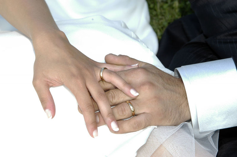 Cropped hands of bride and groom