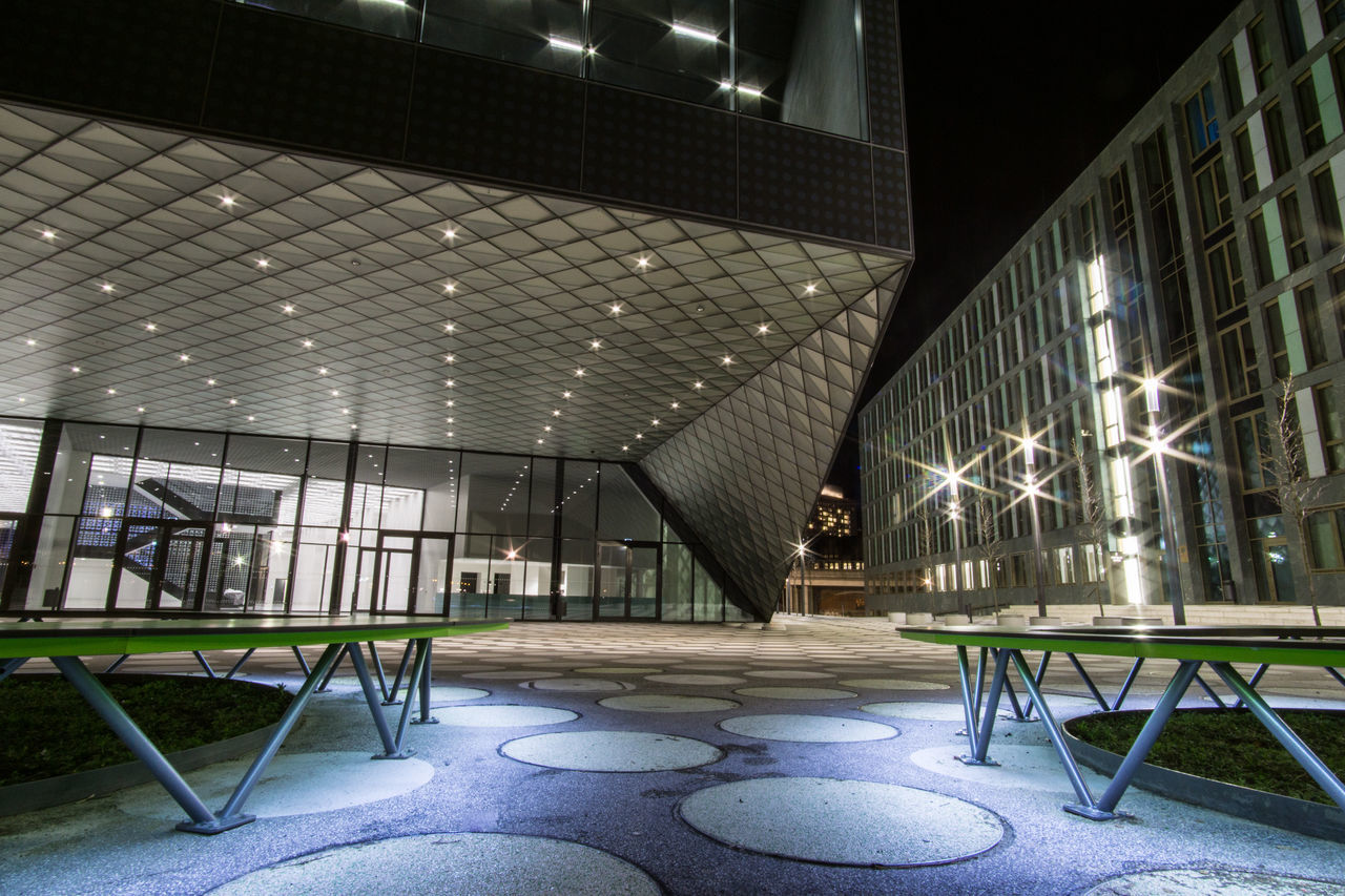 architecture, chair, illuminated, no people, indoors, built structure, building exterior, day