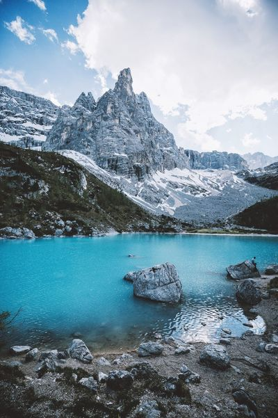Leave the road, take the trails. Mountain Beauty In Nature Nature Snow Lake Scenics Mountain Range Cold Temperature Landscape Tranquil Scene Water Snowcapped Mountain Wilderness Glacier Ice Sky Outdoors Winter Tranquility No People Sorapis Dolomites, Italy