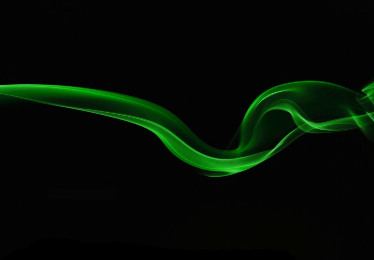 green color, black background, no people, illuminated, close-up, neon, freshness