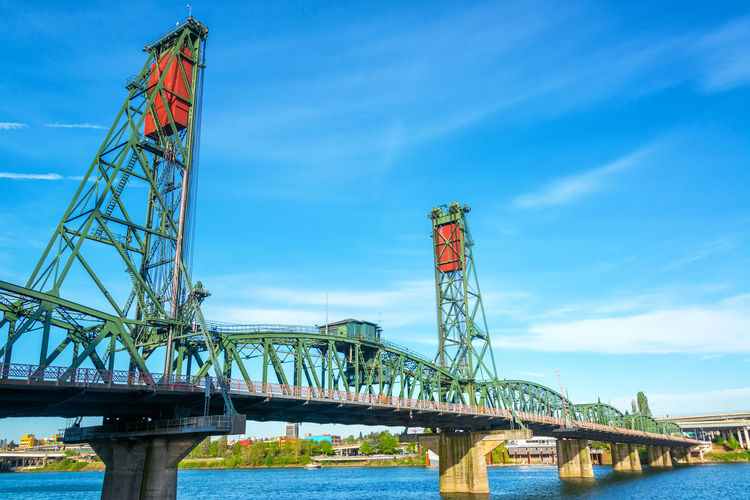 View of the Hawthorne Bridge in downtown Portland, Oregon over the Willamette River Architecture Center City Downtown Hawthorne Oregon Pacific Portland Portland, OR Skyline Tree Trees USA Willamette River  Bridge Burnside  Colorful Northwest Old River Steet Structure Town Urban Waterfront
