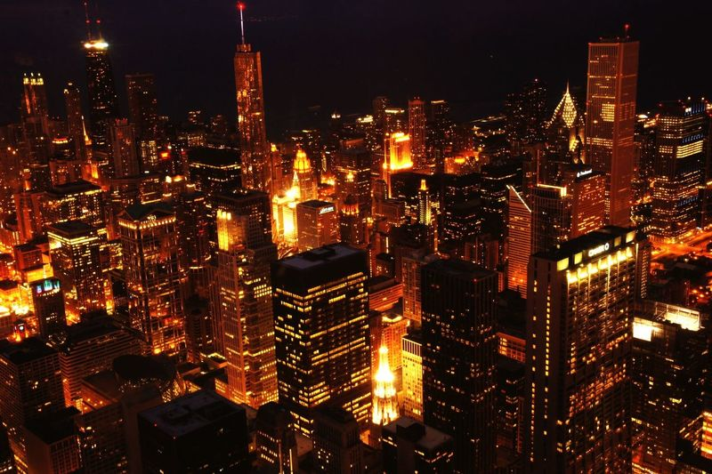Searstower Chicago Architecture Skyline View Skyscrapers Heavenforarchitecturelovers From The Rooftop Aerial Shot
