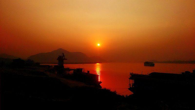 Sunset Assam Assam, India Riverbank Guwahatimetro