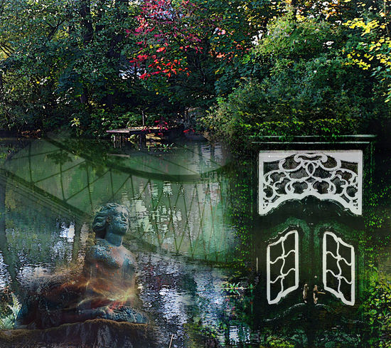 Statue Bridge Composite Collage Door Jetty Lake Mysterious Mystery Tree Water