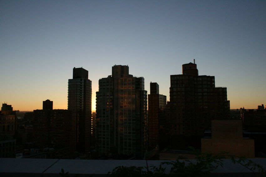 Architecture Building Exterior Built Structure City City Life Modern New York Outdoors Rooftop Skyline Sunset