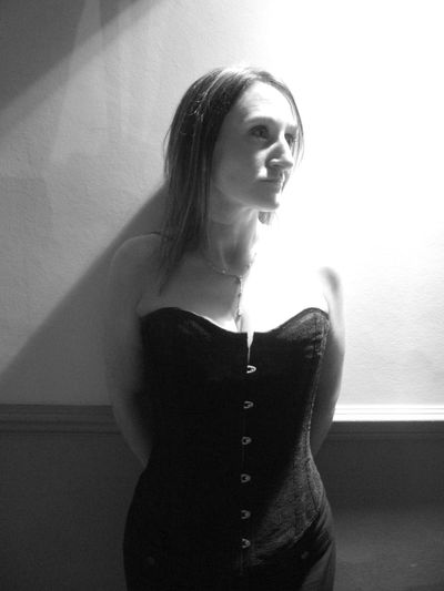 Beautiful Woman Contrast Light And Shadow Noisy Portrait Shape And Texture Standing Women Black&white Corset