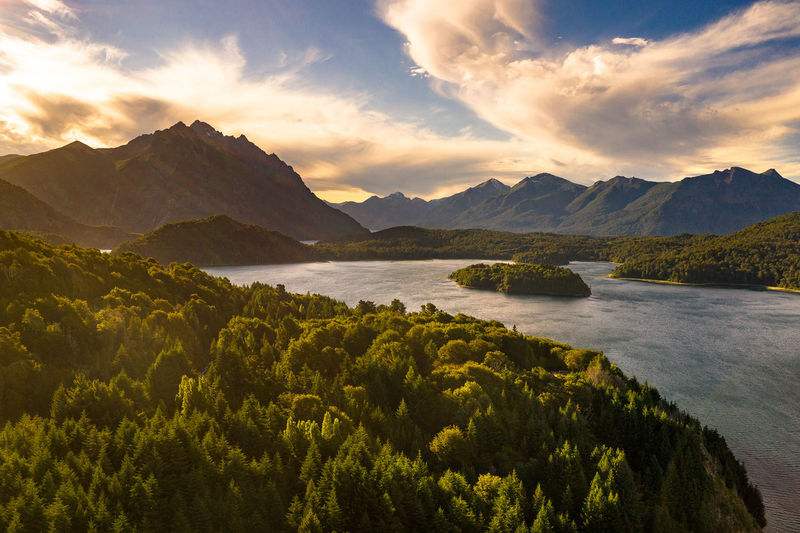 7 lakes near Bariloche in Argentina Mountain Sky Scenics - Nature Beauty In Nature Water Cloud - Sky Tranquil Scene Tranquility Nature Plant Mountain Range No People Sunset Non-urban Scene Lake Idyllic Environment Outdoors Land Drone  Patagonia Landscape Argentina Bariloche Calm