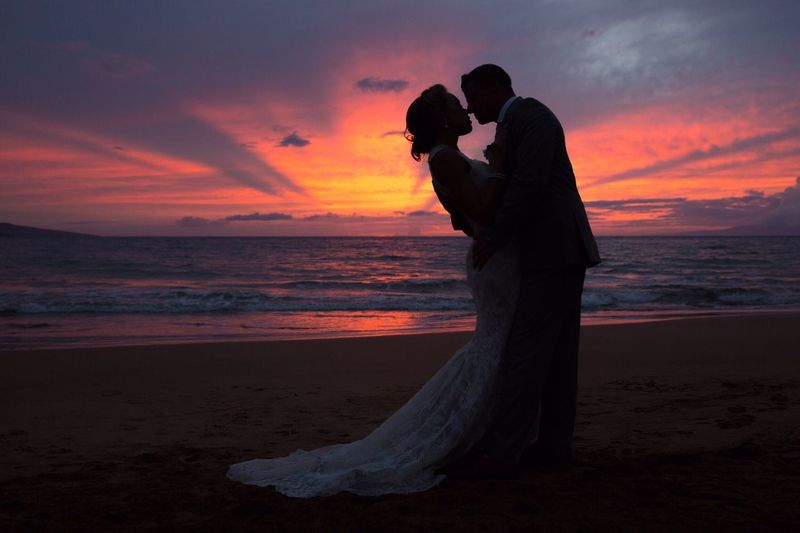 Sea Love Beach Two People Sunset Wedding Men Horizon Over Water Togetherness Bride Standing Full Length Nature Bonding Bridegroom Real People Lifestyles Water Sky Outdoors