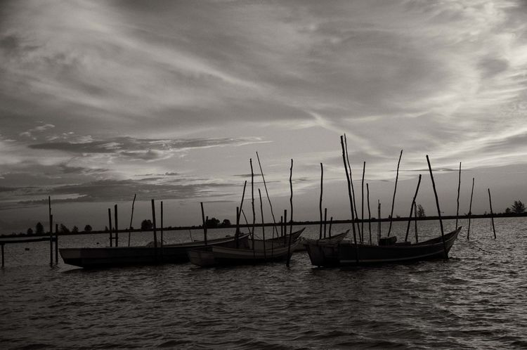 Black & White Beauty In Nature Cloud - Sky Day Mast Mode Of Transport Moored Nature Nautical Vessel No People Outdoors Scenics Sea Sky Sunset Tranquility Transportation Water Waterfront