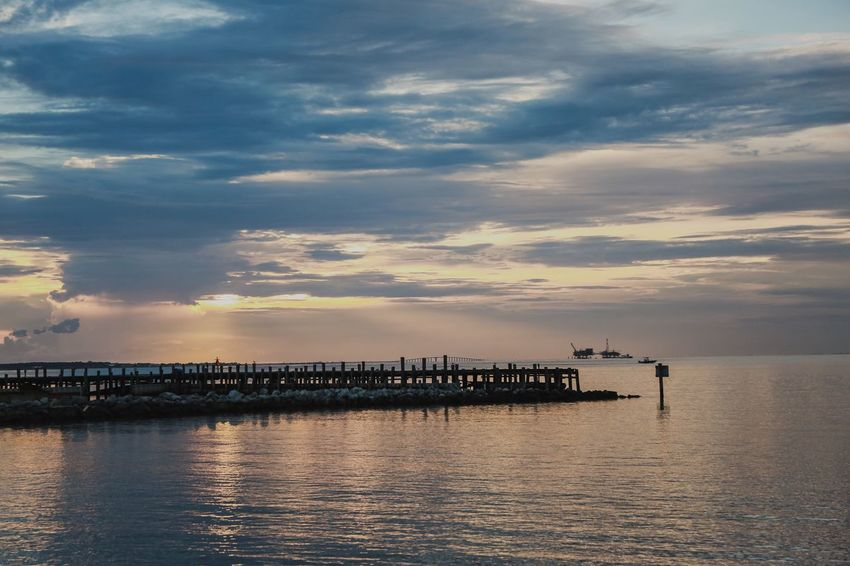 Ocean Fort Morgan Alabama Mobile Bay Pier Sky Cloud - Sky Water Sunset Sea Waterfront Nature Beauty In Nature Architecture Scenics - Nature Pier Transportation Tranquility No People Built Structure Tranquil Scene Nautical Vessel Silhouette Sunlight Outdoors