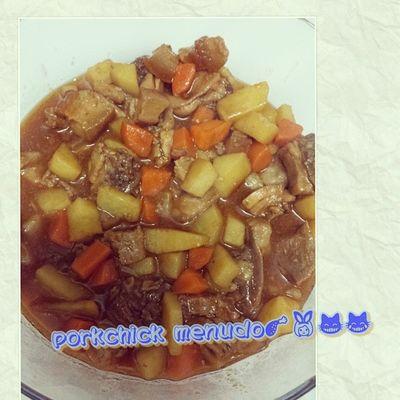 dinner is ready!! mao ni ang getawag na porkchicken menudo! hahahahaha Mystyle Myrecipe Mugna2style