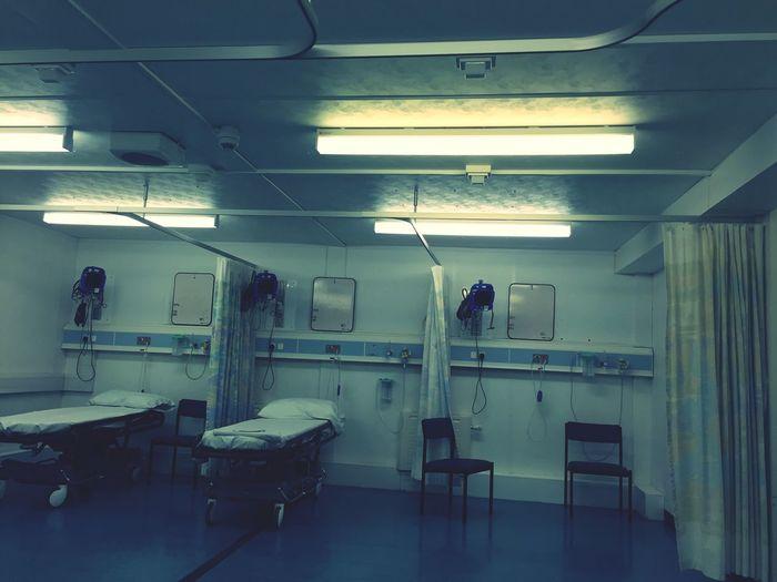 Interior Of Illuminated Hospital Ward