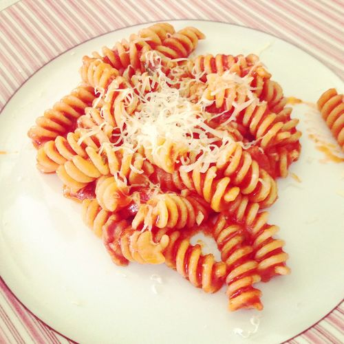 Fusili pasta with tomato sauce and parmesan cheese on plate Cheese Dinner Dish Food Food And Drink Freshness Fusili Gourmet Healthy Eating Italian Italian Food Lunch Meal Meal Parmesan Pasta Plate Plates Ready-to-eat Tasty Tomato Sauce