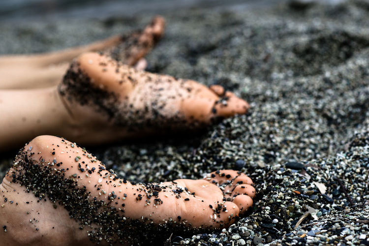 Black Sand Chill Close-up Feet Sunbathing Vacation Water Wet