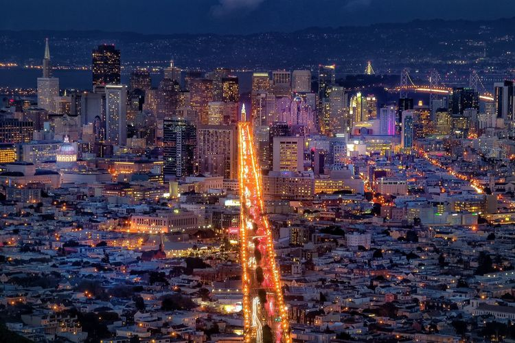 Cityscapes City Lights Landscape San Francisco Night Night Lights Long Exposure Travel Twin Peaks View