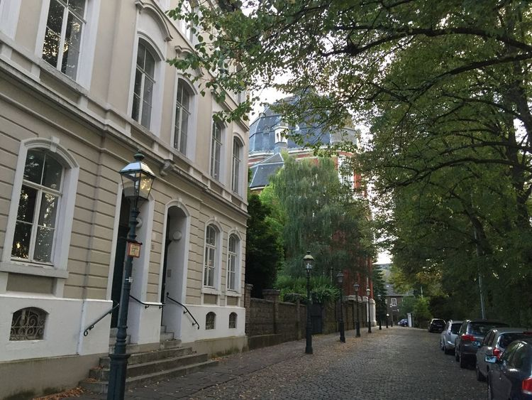 Aachen Tree Architecture Building Exterior Built Structure Road Transportation City Street Land Vehicle Growth Day Long City Life Outdoors The Way Forward Diminishing Perspective Treelined Church Abbey