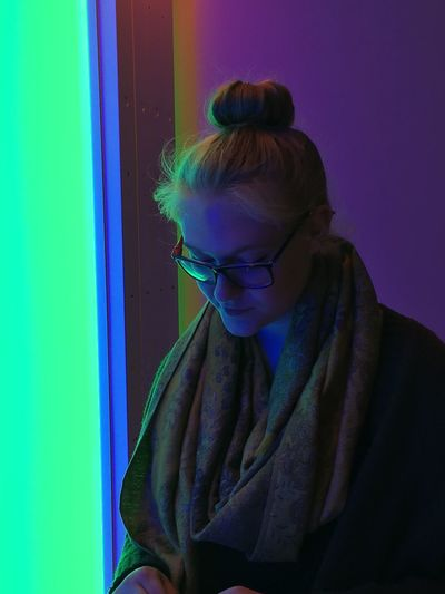 Contemplation Indoors  Women Real People One Person Young Adult Adult Lifestyles Waist Up Glasses Blue Eyeglasses  Young Women Looking Headshot Females Wall - Building Feature Beautiful Woman Purple Hairstyle Leisure Activity