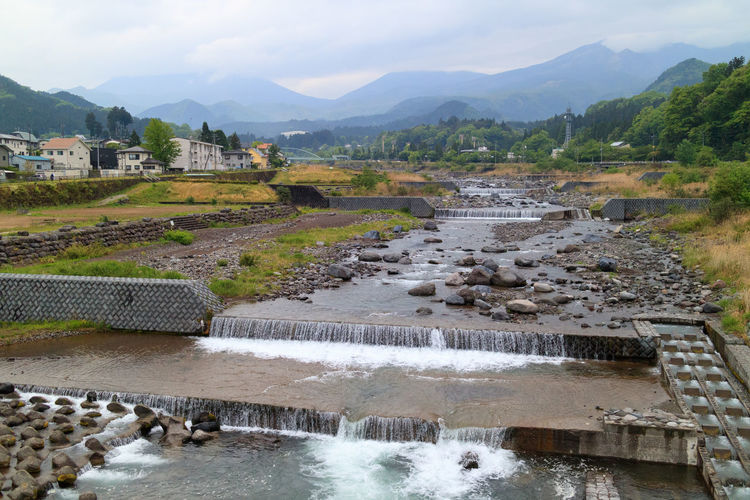 Looking up the Daiya River. Nikko, Tochigi Prefecture, Japan. Japan Japanese  Japanese Landscape Nikko Tochigi Beauty In Nature Built Structure Daiya River Day High Angle View Motion Mountain Mountain River Nature No People Outdoors River Scenics Sky Tochigi Prefecture Water