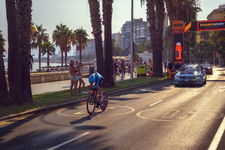 Malaga, Spain - August 25th, 2018. Jan Hirt, from Astana Cycling Team, during first stage of La Vuelta 2018 in the city of Malaga, next to the Malagueta beach, Costa del sol, Spain. Astana City Malaga Palm Tree SPAIN Spanish Vuelta Activity Architecture Beach Bicycle City Costa Del Sol Hirt La Vuelta Ciclista Land Vehicle Men Mode Of Transportation Nature Outdoors People Plant Professional Real People Ride Riding Road Roberto Sorin Sport Street Time Trial Transportation Tree Tree Trunk Trunk