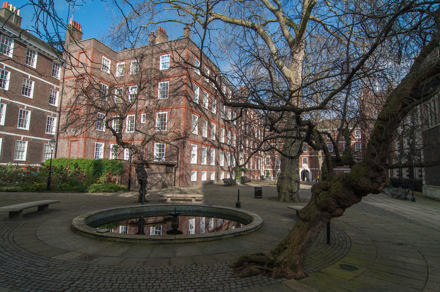 Fountain Court at Middle temple in London, England. 17th Century Charles Dickens Court Lawyer Legal System Martin Chuzzlewit Temple London Architecture Bare Tree Barrister Building Building Exterior Built Structure Chambers City Courtyard  Finance Fountain Court Legal Middle Temple Solicitors