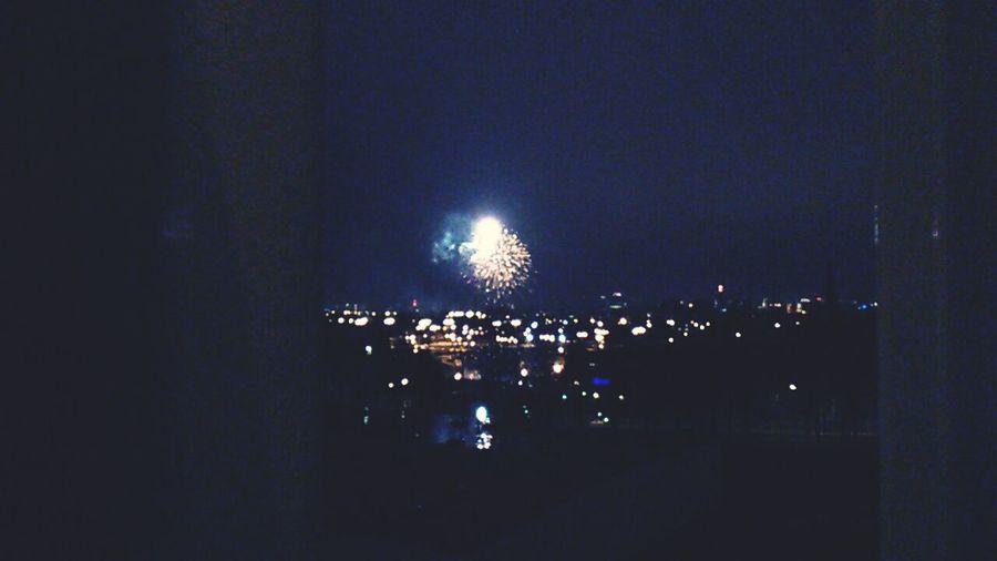 Fireworks Poznań Poland Night Photography