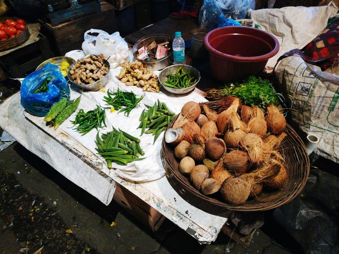 High angle view of fesh vegetables for sale at market