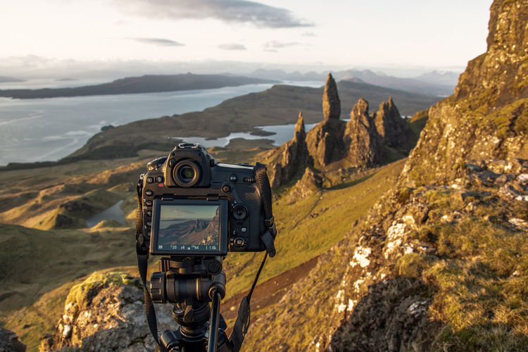Scenics - Nature Camera - Photographic Equipment Photography Themes Digital Camera Outdoors Mountain Range Technology Mountain Landscape Nikon D850 Scotland Old Man Of Storr 2018 In One Photograph