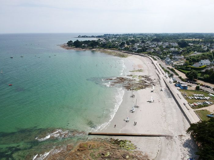 La plage de langoz à loctudy et son club nautique Drone Photography Drone  Clear Water Beach Beach Nautic Club Langoz Loctudy Bretagne Water Sea Sky City High Angle View Day Nature Aerial View
