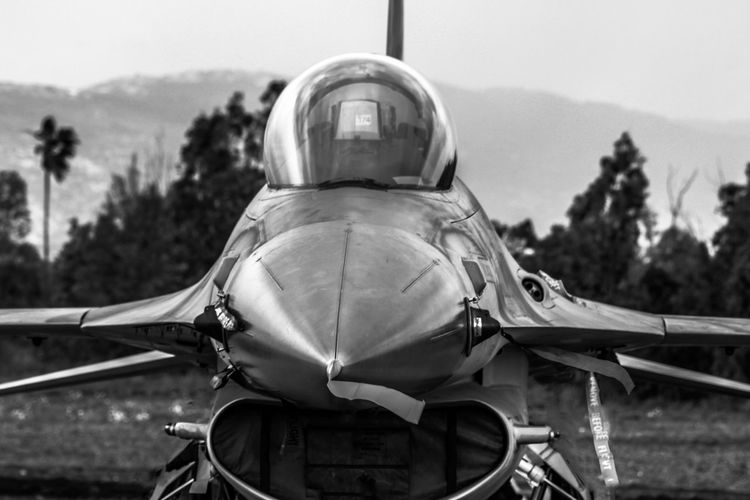 Air Force Aircraft Black And White Bw Close-up Cockpit Day F-16 Flacon Military Nature Outdoors Sky Tree View