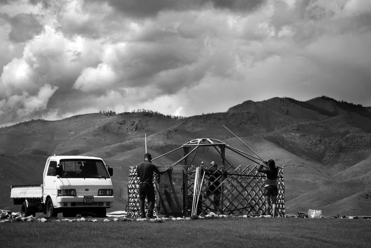 Architecture Construction Mongolia Black And White Cloud - Sky Day Environment Land Land Vehicle Landscape Mode Of Transportation Mountain Mountain Range Nature Nomadic Nomadic Life Outdoors Real People Scenics - Nature Sky Yurt Монгол улс гэр