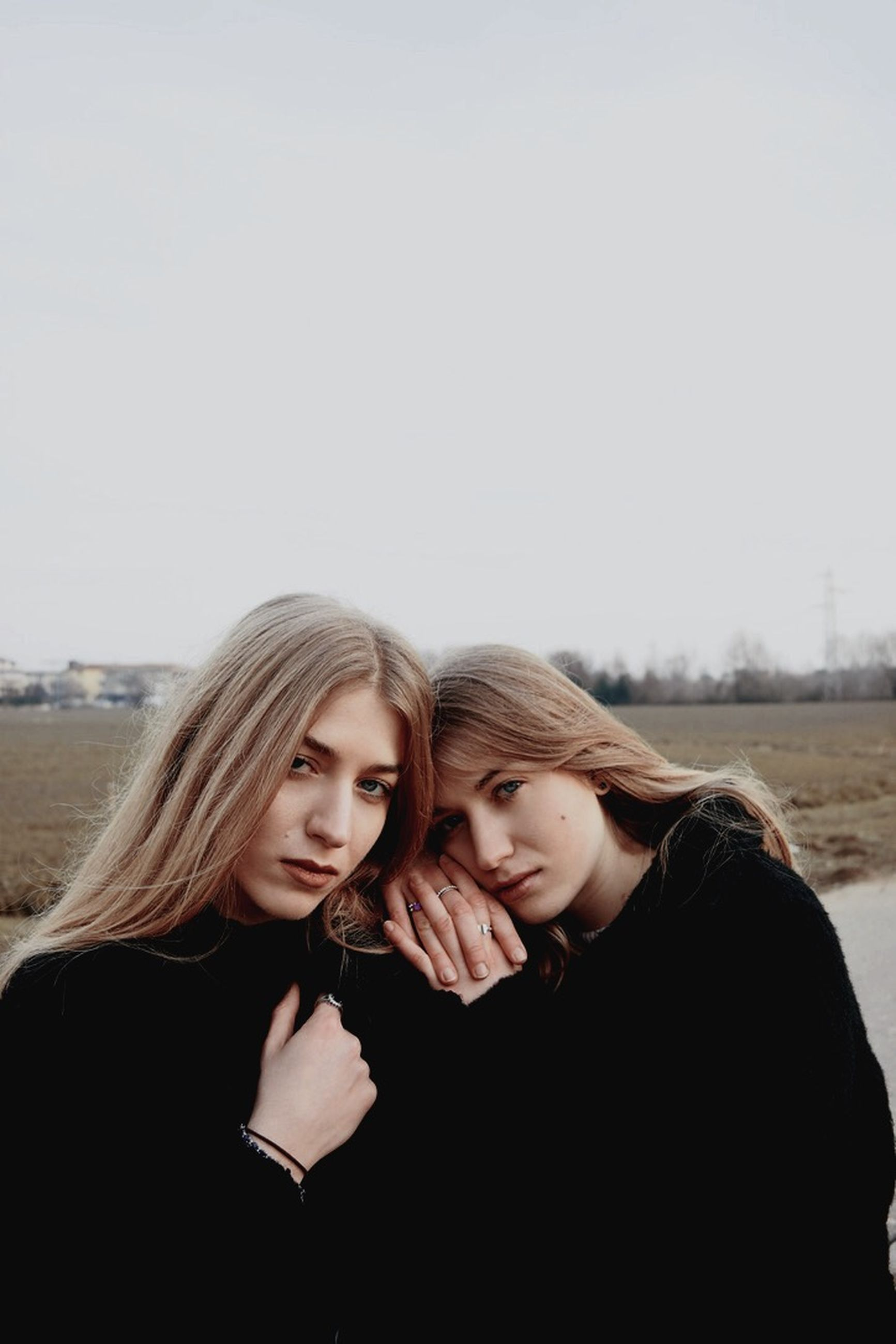 young adult, copy space, young women, women, portrait, hair, bonding, sky, lifestyles, people, togetherness, emotion, headshot, two people, clear sky, leisure activity, long hair, blond hair, nature, hairstyle, positive emotion, teenager, beautiful woman, contemplation, couple - relationship