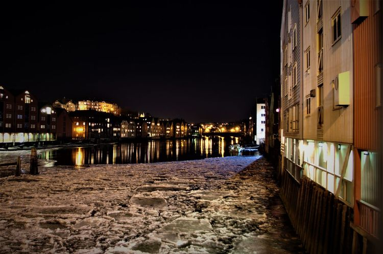 Floating ice sheet in Trondheim. Architecture Building Exterior Built Structure Cityscape Cold Temperature Floating Ice Floating On Water Frozen Houses Ice Ice Floe Illuminated Nidelva Night Nordic Northern Norway Outdoors River Scandinavia Sky Trondelag Trondheim Trondheimsfjorden Water