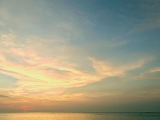 The sky on the sunset time Chill Day Chill Mode Afternoon Sky Gold Sky Sea Scenics Tranquility Water Sky Tranquil Scene Horizon Over Water Nature Beauty In Nature Idyllic No People Cloud - Sky Outdoors Sunset Day