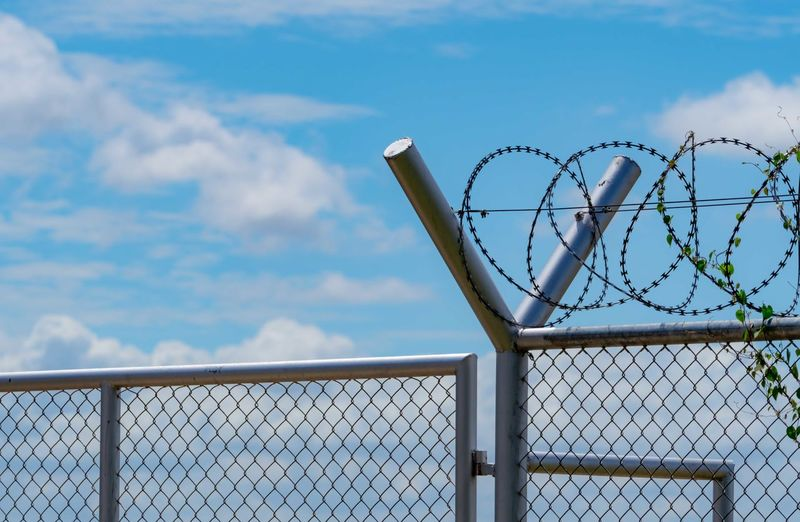 Prison security fence. barbed wire security fence. razor wire jail fence. barrier border. boundary