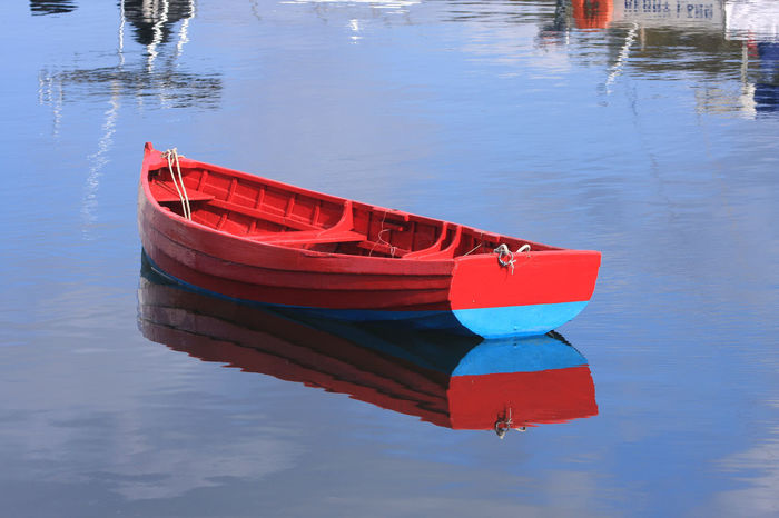 Blue Day Moored Nature Nautical Vessel No People Outdoors Red Reflection Rowing Boat On Water Scotland Tarbert Transportation Water Waterfront