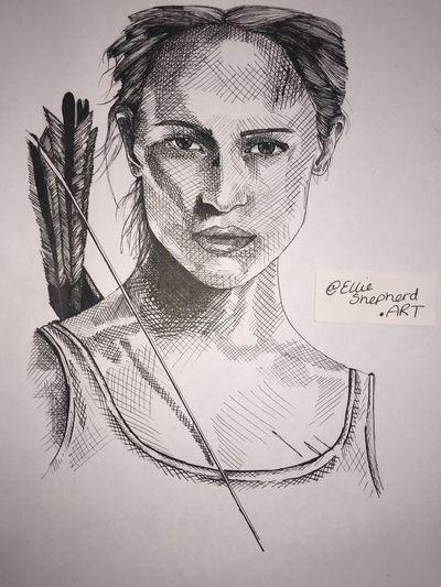 Guess who..? By Ellie Shepherd - insta @ellieshepherd.art Laracrofttombraider Lara Croft Portrait Digital Composite Headshot People White Background Adult Studio Shot
