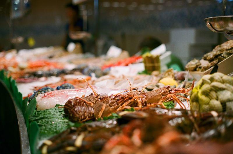 Shrimp for sale at fish market