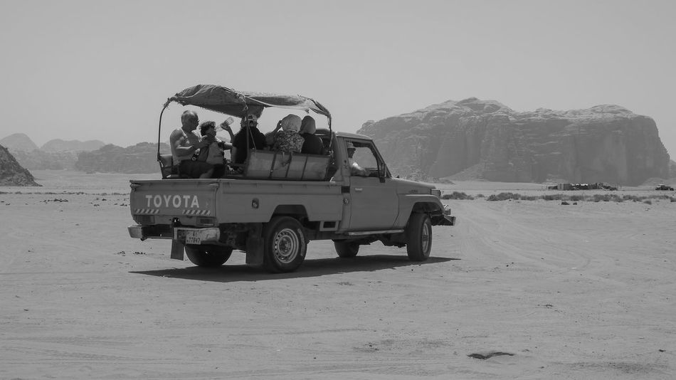 Wadi Rum, Jordan. Arid Climate Black And White Car Day Desert Deserts Around The World Dry Exploring Hotel Jordan Land Cruiser Land Vehicle Middle East Mode Of Transport On The Move Outdoors Tourism Trip Truck Vacation Wadi Rum The KIOMI Collection The Great Outdoors - 2016 EyeEm Awards MeinAutomoment On The Way