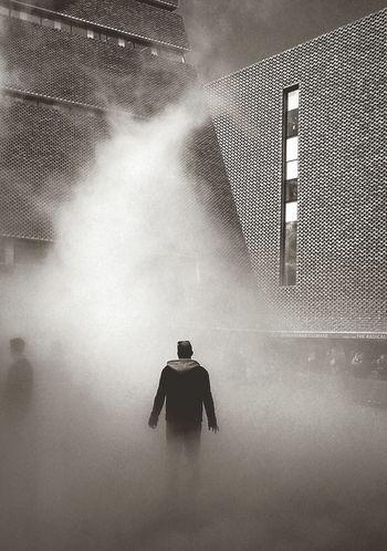 Beam me up Art Installation Tate Modern Gallery London Southbank London Black & White Pyramid Tower Lone Figure Shrouded In Mist Science Fiction Blade Runner Mystery Eerie Scene Strange Image