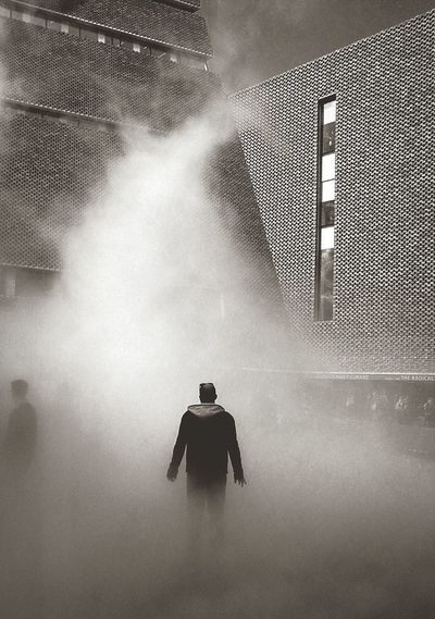 Beam me up Art Installation Tate Modern Gallery London Southbank London Black & White Pyramid Tower Lone Figure Shrouded In Mist Science Fiction Blade Runner Mystery Eerie Scene Strange Image