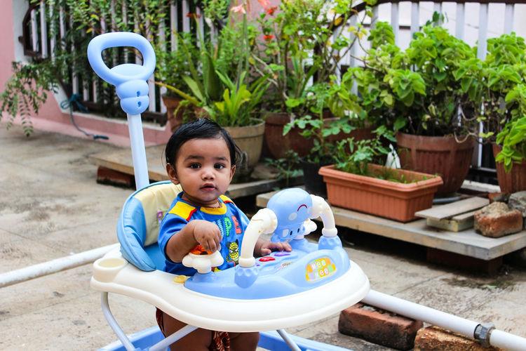 Portrait Of Cute Boy Standing In Baby Walker