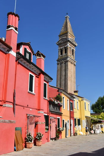 Burano, Italy Burano, Venice Colourful Travel Travel Photography Venice, Italy Architecture Building Exterior Built Structure Burano City Clear Sky Colourful Buildings History Italy No People Outdoors Religion Travel Destinations Venice