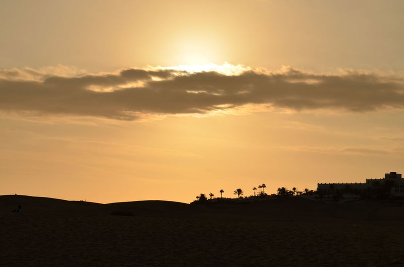 Sunset Silhouette Nature Outdoors Beauty In Nature Sunlight Travel Destinations Desert Sky No People Maspalomas Beach Gran Canaria Sand Sand Dune Maspalomas Dunas Españoles Y Sus Fotos Travel