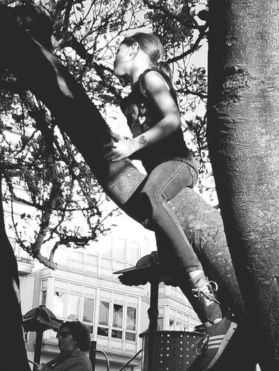 Playing Hugging A Tree Enjoying Life Children