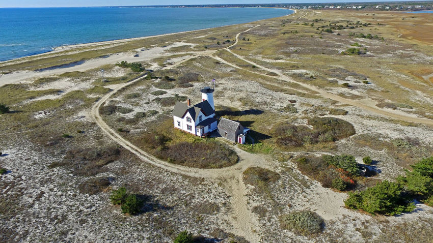 Stage Harbor Lighthouse Aerial Lighthouse Drone  Chatham Cape Cod Aerial Beach